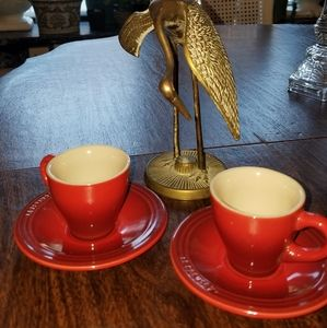 LE CREUSET  capuccino cups and saucers set of 2